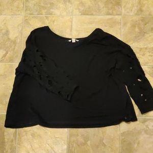 AEO Black Floral Crochet Sleeve Open Back Sweater